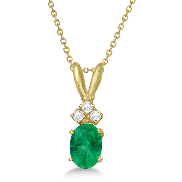 Oval Emerald Pendant with Diamonds 14K Yellow Gold (0.72ctw)