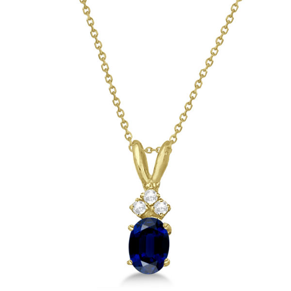 Oval Sapphire Pendant with Diamonds 14K Yellow Gold (1.12ctw)