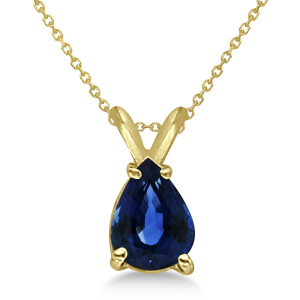 Pear Cut Sapphire Solitaire Pendant Necklace 14K Yellow Gold (0.75ct)