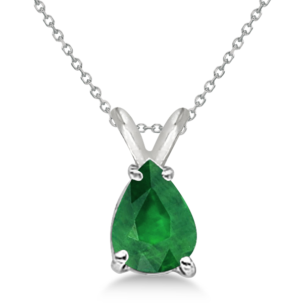 Pear Cut Emerald Solitaire Pendant Necklace 14K White Gold (0.75ct)