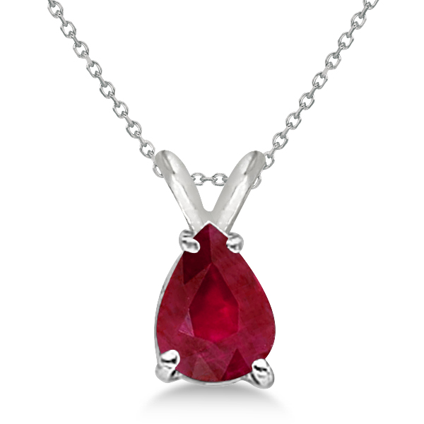Pear Cut Ruby Solitaire Pendant Necklace 14K White Gold (0.75ct)