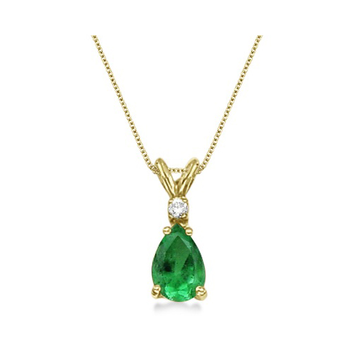 Pear Emerald & Diamond Solitaire Pendant Necklace 14k Yellow Gold