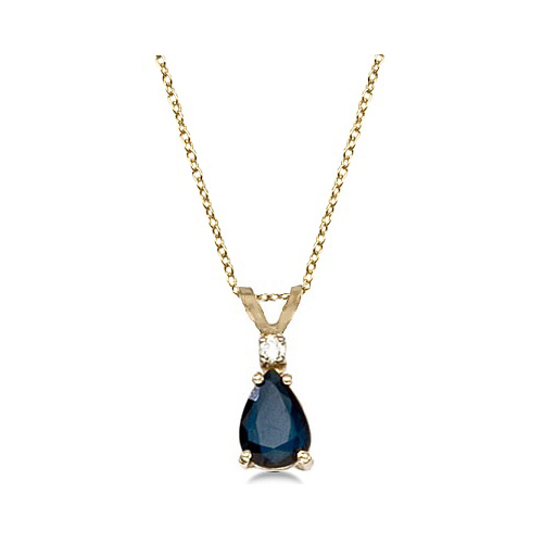 Pear Blue Sapphire & Diamond Solitaire Pendant Necklace 14k Yellow Gold