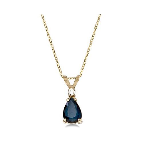 Pear Blue Sapphire & Diamond Solitaire Pendant Necklace 14k Yellow Gold