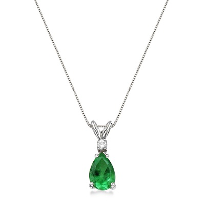 Pear Emerald & Diamond Solitaire Pendant Necklace 14k White Gold