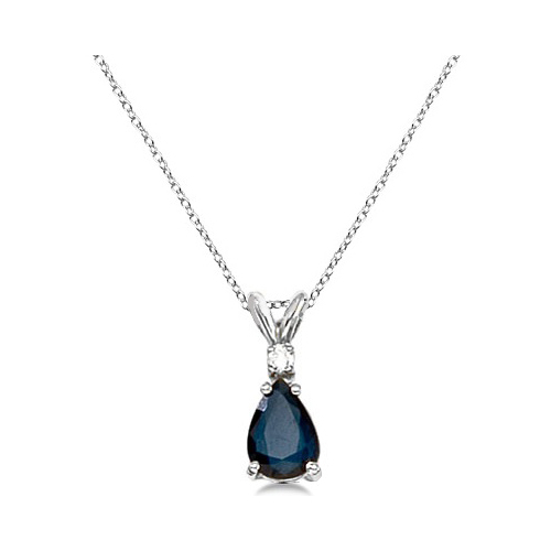 Pear Blue Sapphire & Diamond Solitaire Pendant Necklace 14k White Gold