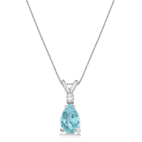 Pear Aquamarine & Diamond Solitaire Pendant Necklace 14k White Gold (0.75ct)