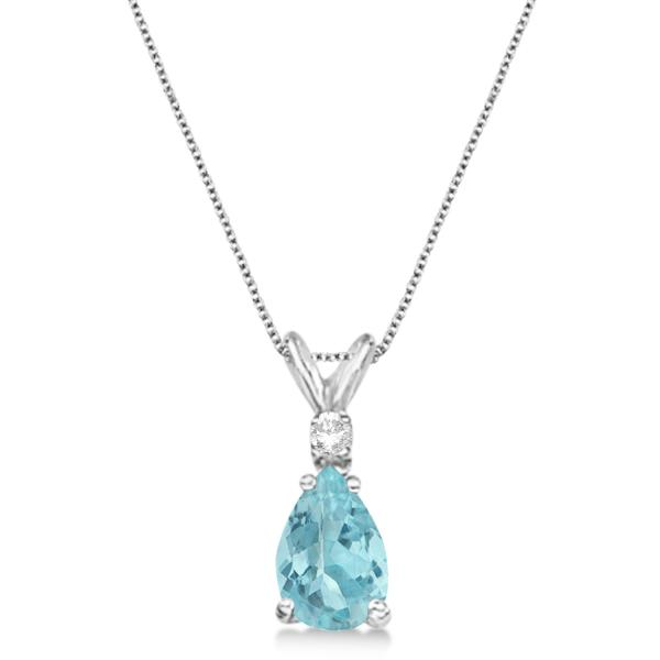 Pear Aquamarine & Diamond Solitaire Pendant Necklace 14k White Gold (0.75ct)