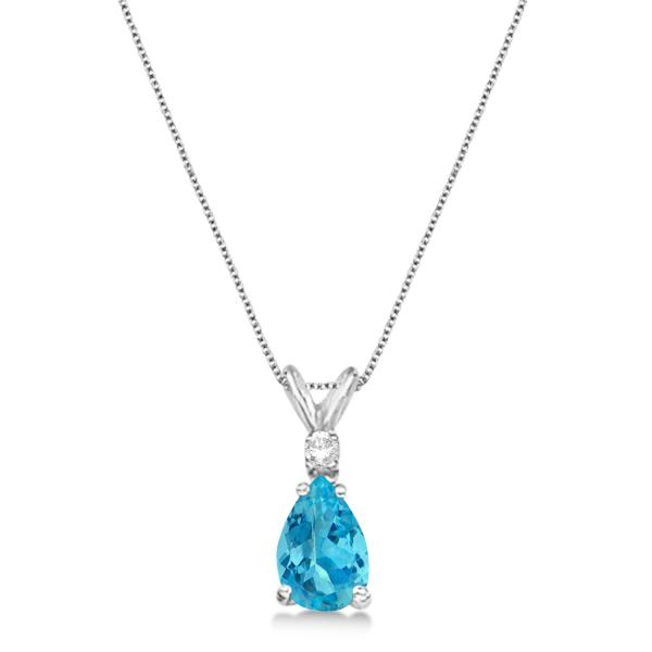 Pear Blue Topaz & Diamond Solitaire Pendant Necklace 14k White Gold (0.75ct)
