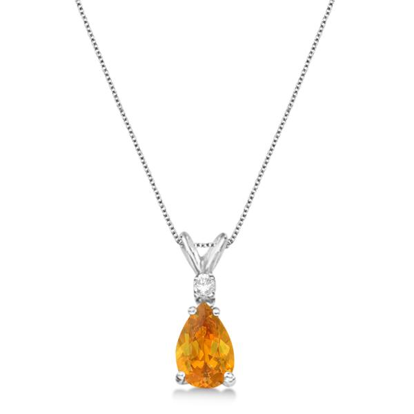 Pear Citrine & Diamond Solitaire Pendant Necklace 14k White Gold (0.75ct)