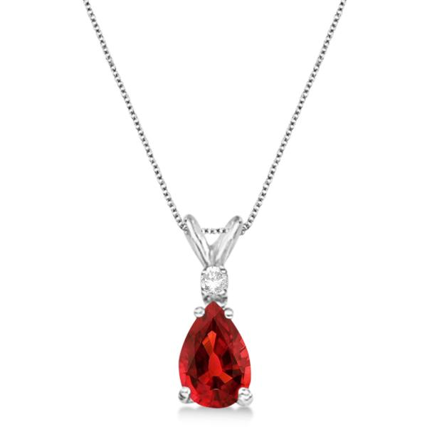 Pear Garnet & Diamond Solitaire Pendant Necklace 14k White Gold (0.75ct)