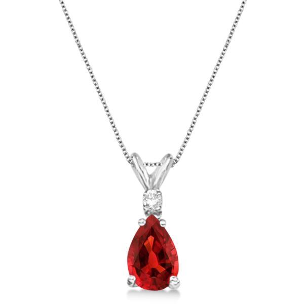 Pear Garnet & Diamond Solitaire Pendant Necklace 14k White Gold (0.75ct)