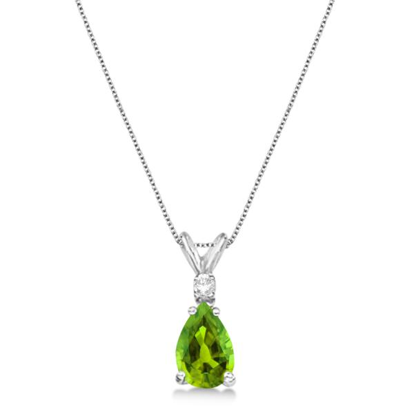 Pear Peridot & Diamond Solitaire Pendant Necklace 14k White Gold (0.75ct)