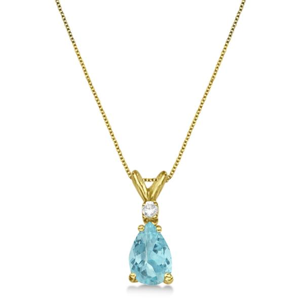 Pear Aquamarine & Diamond Solitaire Pendant Necklace 14k Yellow Gold (0.75ct)