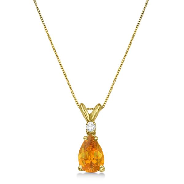 Pear Citrine & Diamond Solitaire Pendant Necklace 14k Yellow Gold (0.75ct)