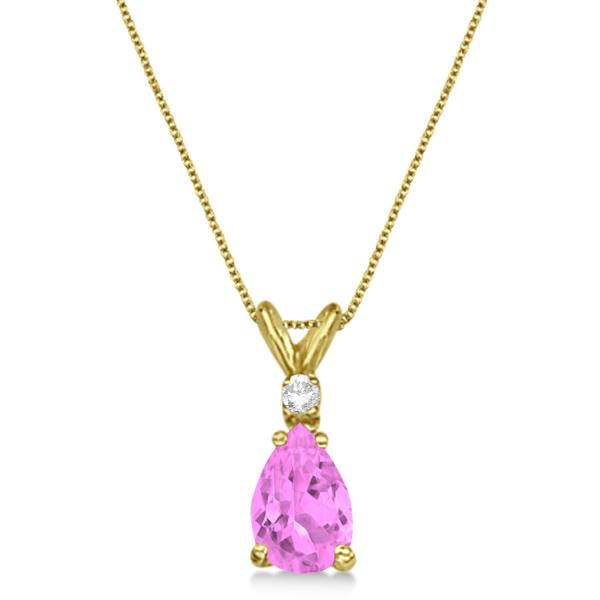 Pear Pink Sapphire & Diamond Solitaire Pendant Necklace 14k Yellow Gold (0.75ct)