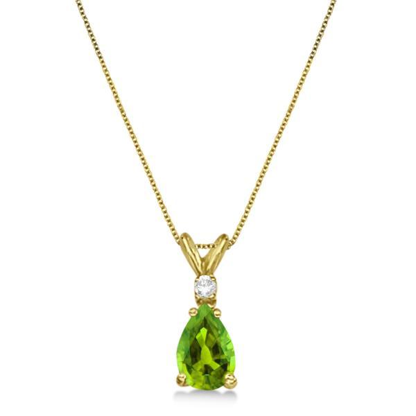 Pear Peridot & Diamond Solitaire Pendant Necklace 14k Yellow Gold (0.75ct)
