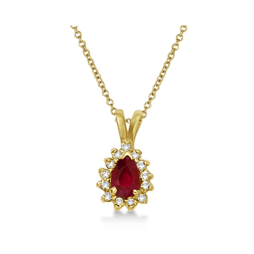 Pear Ruby & Diamond Pendant Necklace 14k Yellow Gold (0.70ct)
