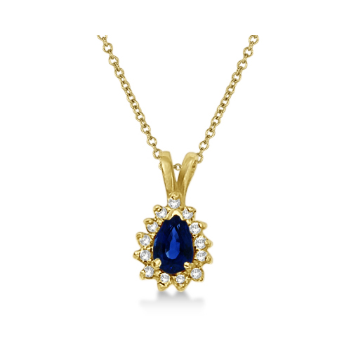 Pear Sapphire & Diamond Pendant Necklace 14k Yellow Gold (0.70ct)