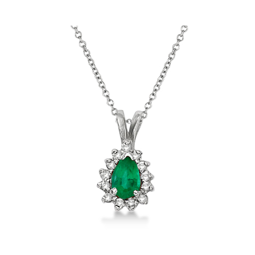 Pear Emerald & Diamond Pendant Necklace 14k White Gold (0.70ct)
