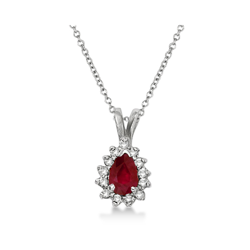 Pear Ruby & Diamond Pendant Necklace 14k White Gold (0.70ct)