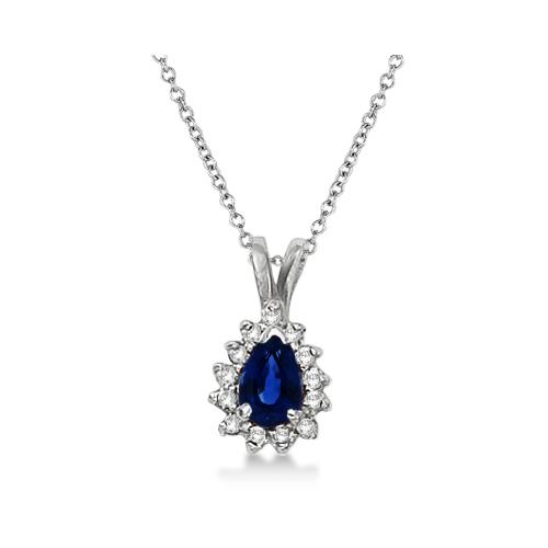 Pear Sapphire & Diamond Pendant Necklace 14k White Gold (0.70ct)
