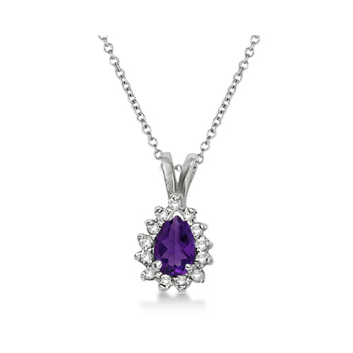 Pear Amethyst & Diamond Pendant Necklace 14k White Gold (0.70ct)