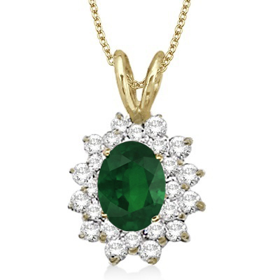Emerald & Diamond Accented Pendant 14k Yellow Gold (1.60ctw)