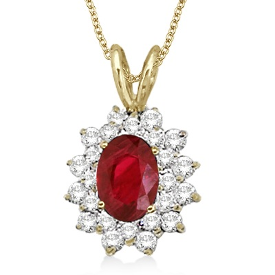 Ruby & Diamond Accented Pendant 14k Yellow Gold (1.60ctw)