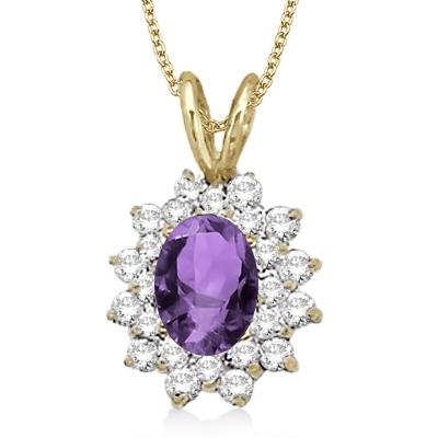 Amethyst & Diamond Accented Pendant 14k Yellow Gold (1.60ctw)