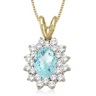 Aquamarine & Diamond Accented Pendant 14k Yellow Gold (1.60ctw)