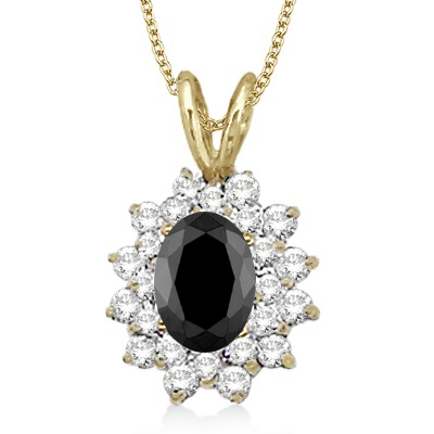 Black & White Diamond Accented Pendant 14k Yellow Gold (1.60ctw)