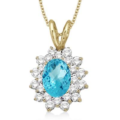 Blue Topaz & Diamond Accented Pendant 14k Yellow Gold (1.60ctw)