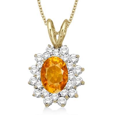 Citrine & Diamond Accented Pendant 14k Yellow Gold (1.60ctw)