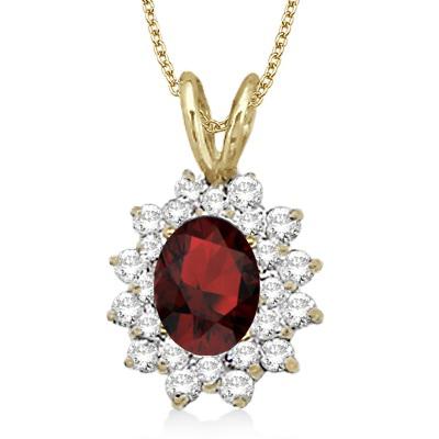Garnet & Diamond Accented Pendant 14k Yellow Gold (1.60ctw)