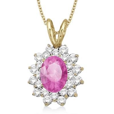 Pink Sapphire & Diamond Accented Pendant 14k Yellow Gold (1.60ctw)