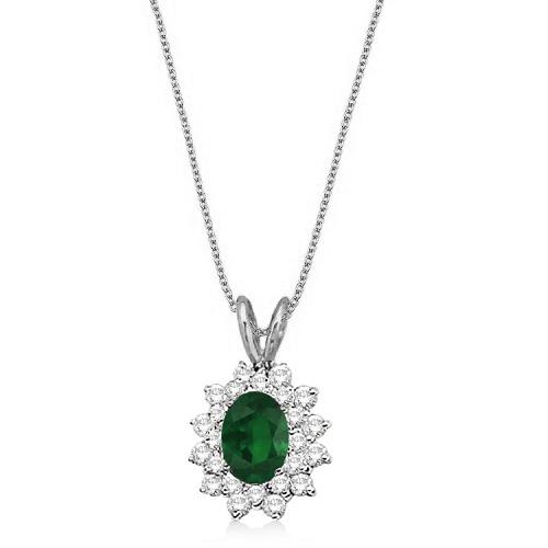 Emerald & Diamond Accented Pendant 14k White Gold (1.60ctw)