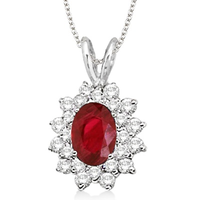 Ruby & Diamond Accented Pendant 14k White Gold (1.60ctw)