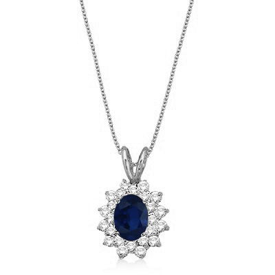 Blue Sapphire & Diamond Accented Pendant 14k White Gold (1.60ctw)