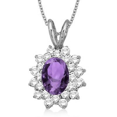Amethyst & Diamond Accented Pendant 14k White Gold (1.60ctw)
