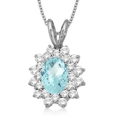 Aquamarine & Diamond Accented Pendant 14k White Gold (1.60ctw)