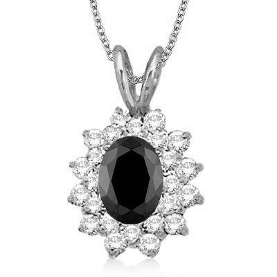 Black & White Diamond Accented Pendant 14k White Gold (1.60ctw)