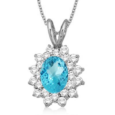 Blue Topaz & Diamond Accented Pendant 14k White Gold (1.60ctw)