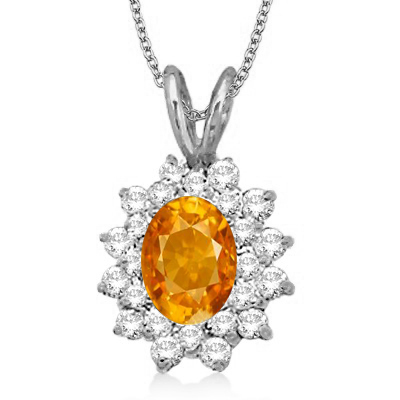 Citrine & Diamond Accented Pendant 14k White Gold (1.60ctw)