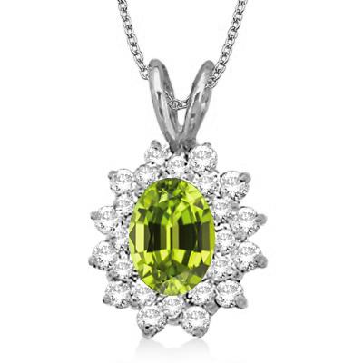 Peridot & Diamond Accented Pendant 14k White Gold (1.60ctw)