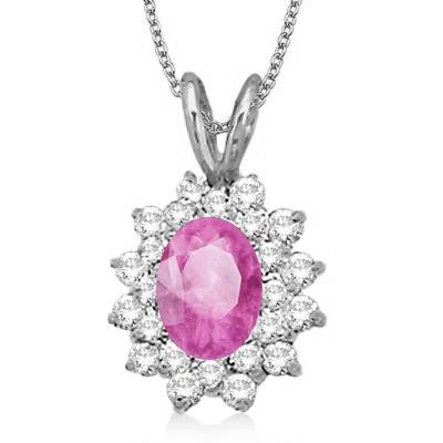 Pink Sapphire & Diamond Accented Pendant 14k White Gold (1.60ctw)