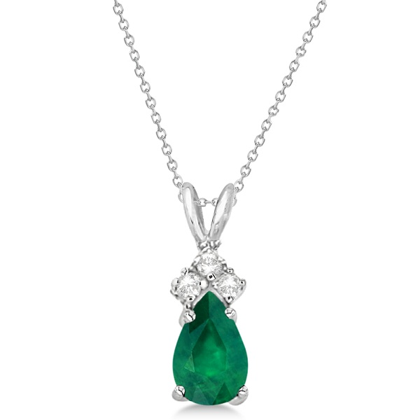 Pear Emerald & Diamond Solitaire Pendant 14k White Gold (0.75ct)