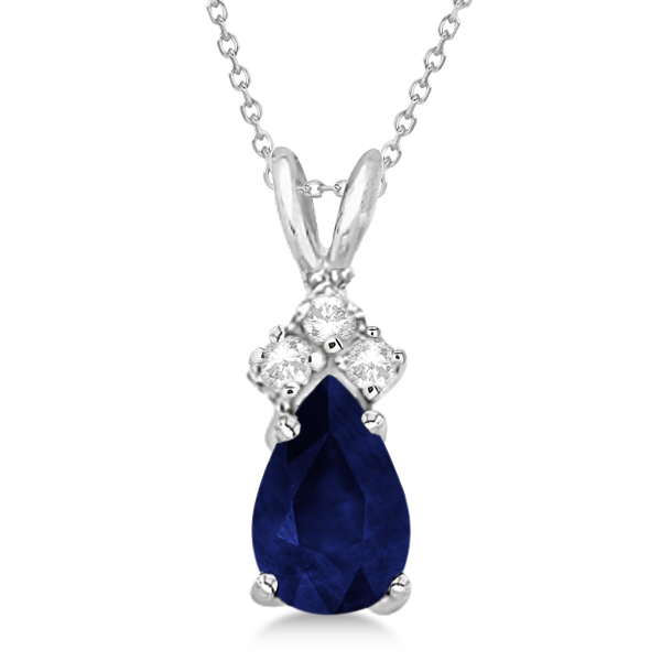 Pear Sapphire & Diamond Solitaire Pendant 14k White Gold (0.75ct)