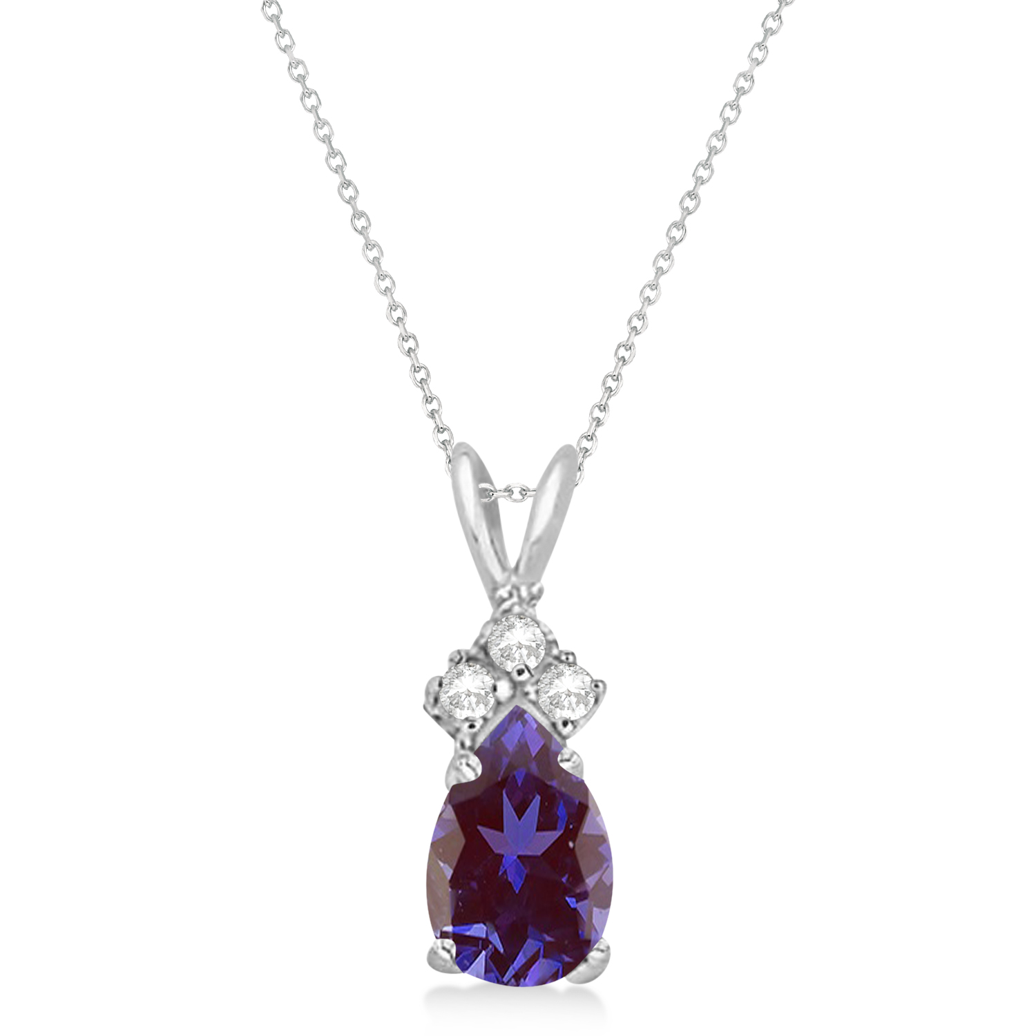 Pear Lab Alexandrite & Diamond Solitaire Pendant 14k White Gold (0.75ct)