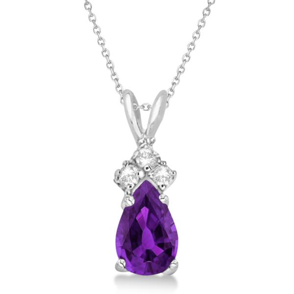 Pear Amethyst & Diamond Solitaire Pendant 14k White Gold (0.75ct)